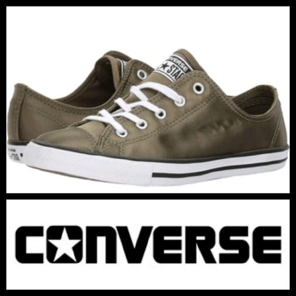 6f7ad23237a6 CONVERSE Dainty Satin in Olive Green